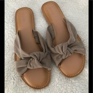 Faux-Suede Knotted-Twist Slide Sandals